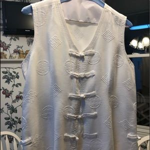 Tops - White Asian style button vest